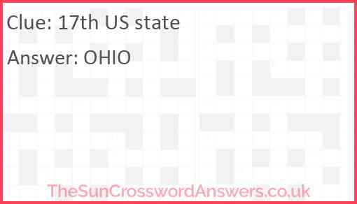 17th US state Answer