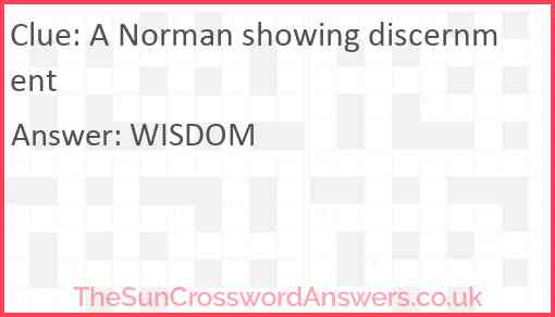A Norman showing discernment Answer