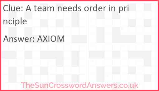 A team needs order in principle Answer