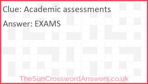 Academic assessments Answer