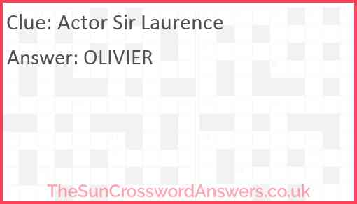 Actor Sir Laurence Answer