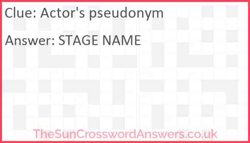 Actor's pseudonym Answer
