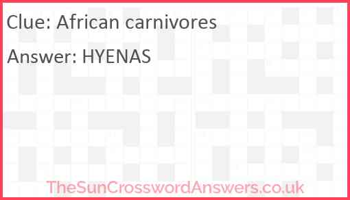 African carnivores Answer