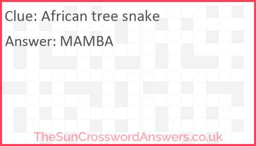 African tree snake Answer