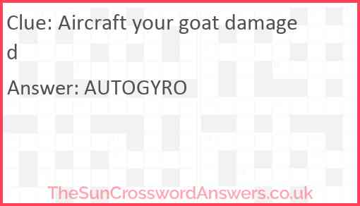 Aircraft your goat damaged Answer
