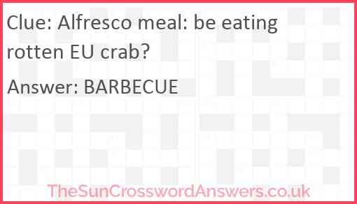 Alfresco meal: be eating rotten EU crab? Answer