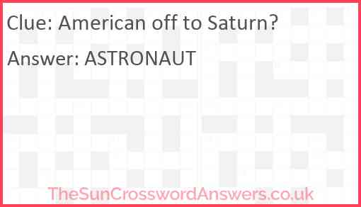 American off to Saturn? Answer