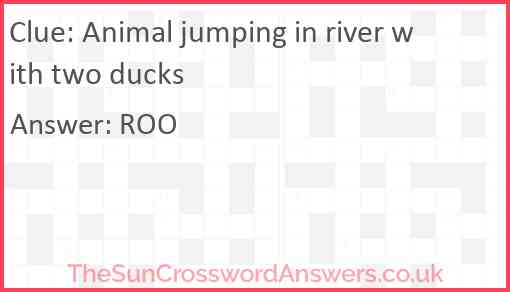 Animal jumping in river with two ducks Answer