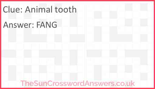 Animal tooth Answer