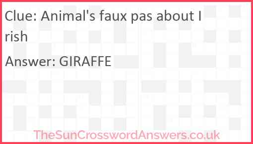 Animal's faux pas about Irish Answer