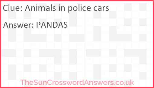 Animals in police cars Answer