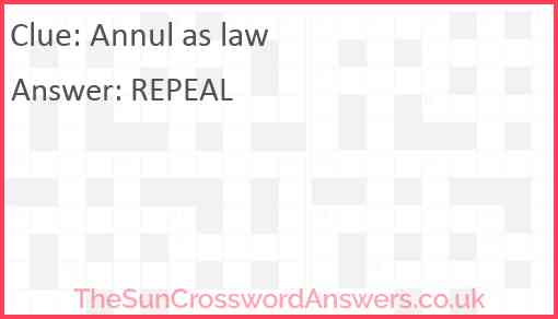 Annul as law Answer