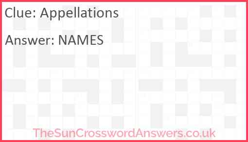 Appellations Answer