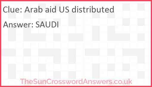 Arab aid US distributed Answer