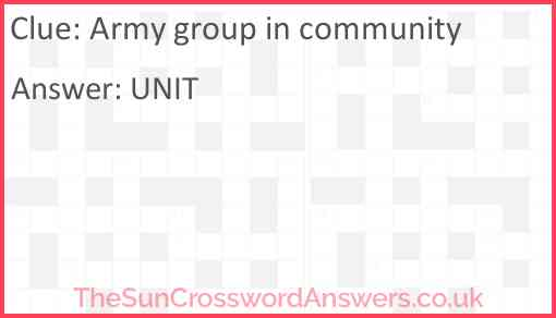 Army group in community Answer
