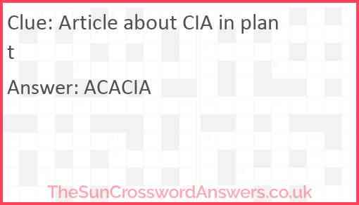Article about CIA in plant Answer
