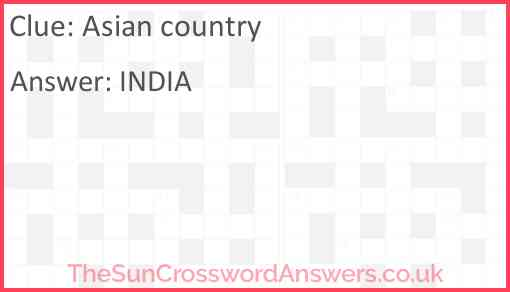 Asian country Answer