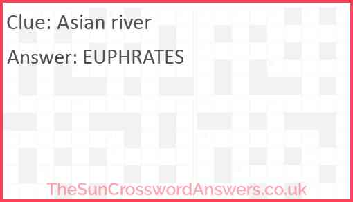 Asian river Answer