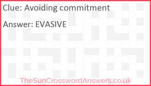 Avoiding commitment Answer
