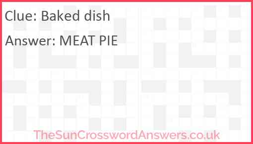 Baked dish Answer