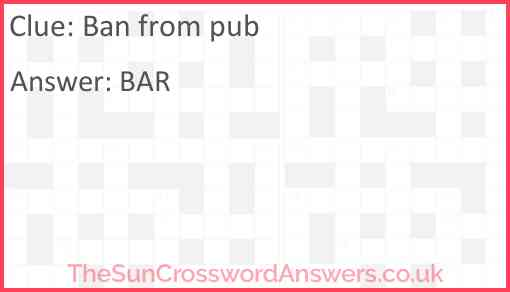 Ban from pub Answer