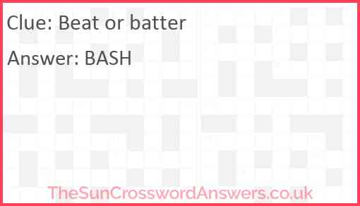 Beat or batter Answer