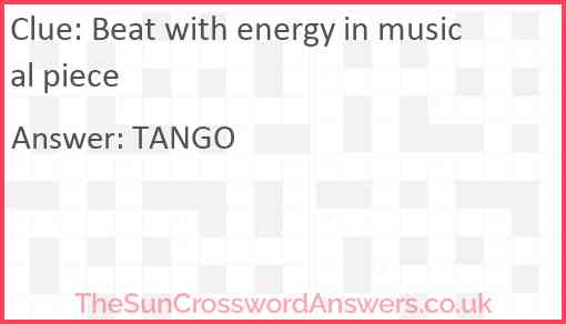 Beat with energy in musical piece Answer