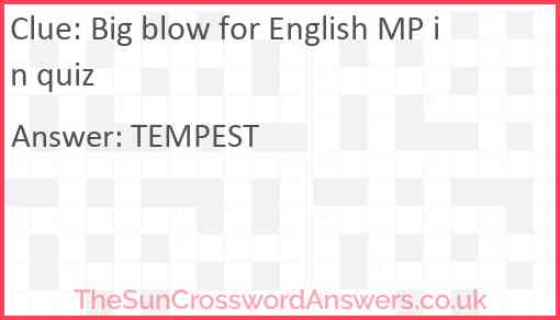 Big blow for English MP in quiz Answer