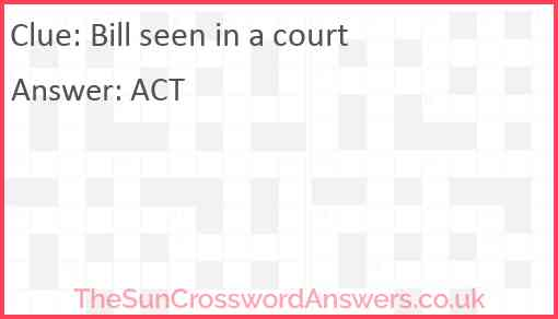 Bill seen in a court Answer