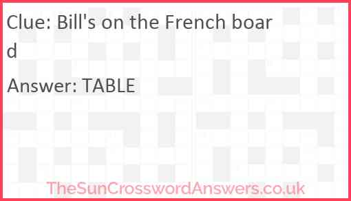 Bill's on the French board Answer