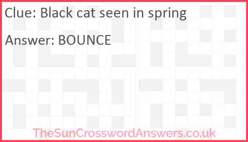 Black cat seen in spring Answer