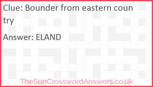 Bounder from eastern country Answer