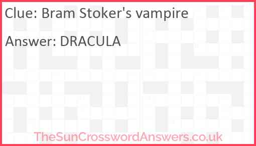 Bram Stoker's vampire Answer