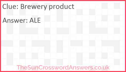 Brewery product Answer