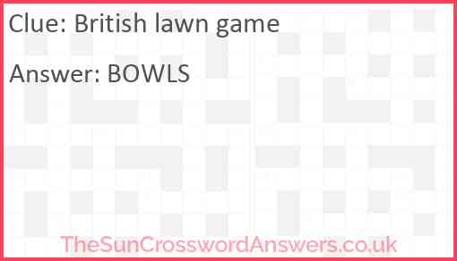 British lawn game Answer