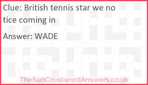 British tennis star we notice coming in Answer