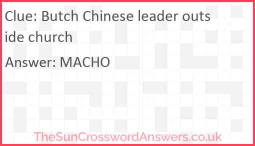 Butch Chinese leader outside church Answer