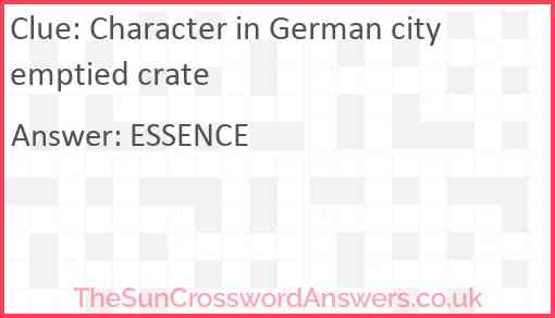 Character in German city emptied crate Answer
