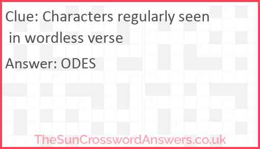 Characters regularly seen in wordless verse Answer