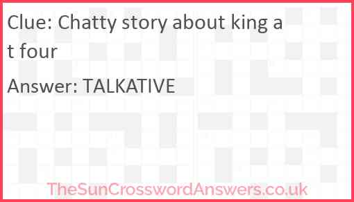 Chatty story about king at four Answer