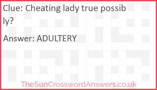 Cheating lady true possibly? Answer