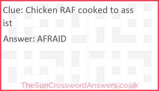 Chicken RAF cooked to assist Answer