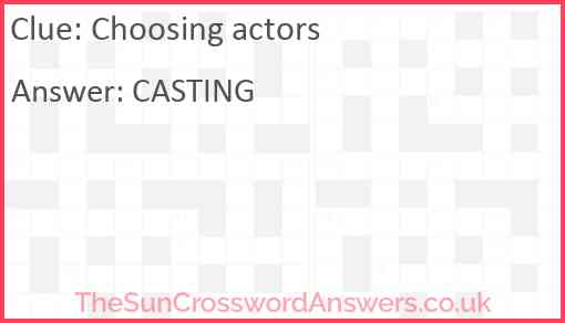 Choosing actors Answer