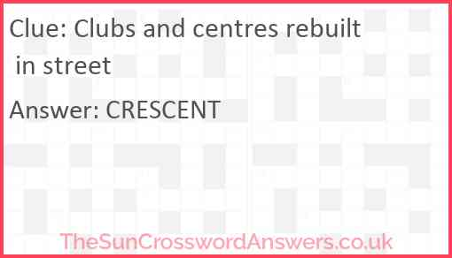 Clubs and centres rebuilt in street Answer