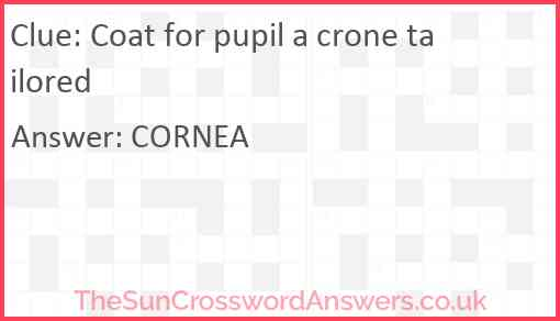 Coat for pupil a crone tailored Answer
