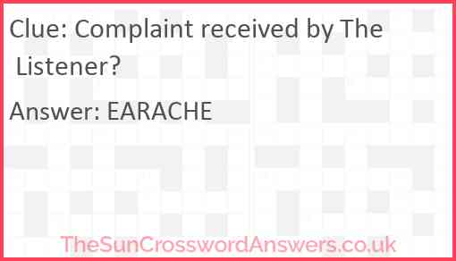 Complaint received by The Listener? Answer
