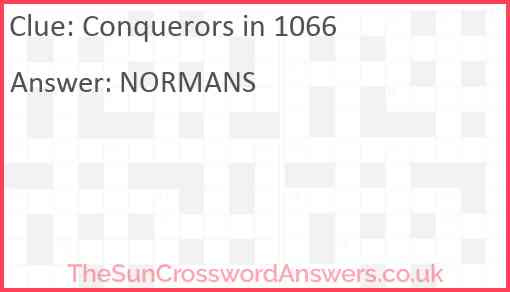 Conquerors in 1066 Answer