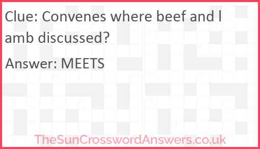 Convenes where beef and lamb discussed? Answer