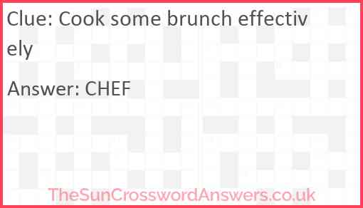 Cook some brunch effectively Answer