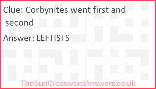 Corbynites went first and second Answer